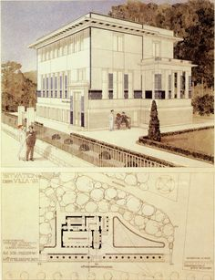 Otto Wagner, design for the Villa Wagner in Vienna, 1913. From the Bridgeman Art Library.