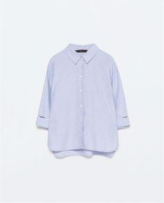 Image 9 of THREE-QUARTER SLEEVE OXFORD SHIRT from Zara