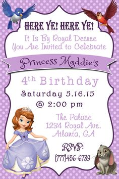 Disney Princess Sofia The First Invitation by SweetSimplySouthern