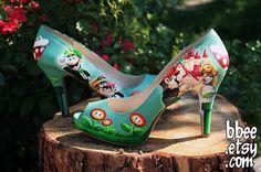 Zapatillas de boda personalizadas a la Mario Bros... @conejita92