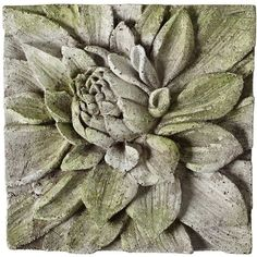 """Universal Lighting and Decor Dahlia 13 1/2"""" Square White Moss Outdoor... (270 BRL) ❤ liked on Polyvore featuring home, outdoors, outdoor decor, wall art, green, outdoor patio decor, outdoor wall plaques, patio decor and white wall plaques"""