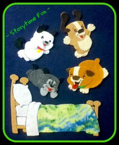 Storytime ABC's: Flannel Friday: Five Little Puppies Jumping on the Bed by Lily Karr