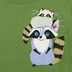 Racoon Cap  This soft Women's tee is made of a 50/50 fine jersey blend with a silk-screened design featuring two raccoons.   $28