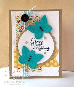 Handmade card by Marisa Ritzen using the Butterfly Grace stamp set by Verve. #vervestamps #faithstamping
