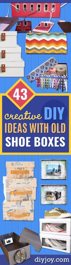DIY Ideas With Shoe Boxes - Shoe Box Crafts and Organizers for Storage - How To Make A Shelf, Makeup Organizer, Kids Room Decoration, Storage Ideas Projects - Cheap Home Decor DIY Ideas for Kids, Adults and Teens Rooms http://diyjoy.com/diy-ideas-shoe-boxes