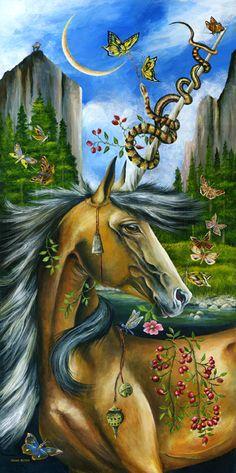 Golden Turmoil by Janie Olsen ☽☯☾magickbohemian Unicorn And Glitter, Unicorn Art, Magical Unicorn, Magical Creatures, Fantasy Creatures, Pagan Art, The Last Unicorn, Fairytale Fantasies, Horse Art