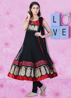 Black, Red Net Anarkali Suit