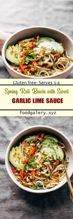 SPRING ROLL BOWLS WITH SWEET GARLIC LIME SAUCE Healthy Crockpot Recipes, Cooking Recipes, Asian Recipes, Ethnic Recipes, Lime Recipes, Healthy Eating Tips, Spring Rolls, Quick Meals, Sauce Recipes