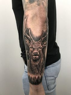 Stag tattoo by Stefan. Limited availability at Salvation Tattoo Studios. Stag tattoo by Stefan. Limited availability at Salvation Tattoo Studios. Elk Tattoo, Deer Skull Tattoos, Deer Head Tattoo, Antler Tattoos, Eagle Tattoos, Head Tattoos, Forearm Tattoo Men, Deer Hunting Tattoos, Stag Tattoo Design