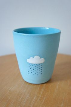 Teal Cloudy Cup ceramic stoneware pottery by vanessabeanshop
