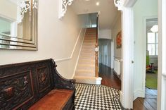 Entrance hallway with traditional tessellated tile floor in Hadley Gardens, Chiswick, London, W4.