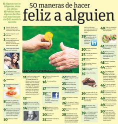 Commands (Tu) w/ & w/o pronouns - 50 maneras de hacer feliz a alguien (INFOGRAPHIC) Lesson idea: Read through these and students come up with their own list of things to do to make others (or specific people happy) Ap Spanish, Spanish Grammar, Spanish Teacher, Spanish Classroom, Spanish Lessons, Teaching Spanish, Spanish Language, Teaching Resources, Learn Spanish