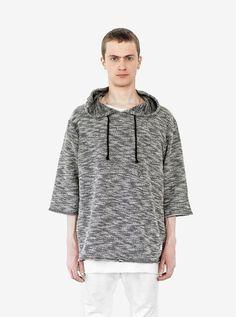 Rush Marled Half Sleeve Hoodie in Mixed Gray
