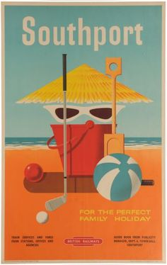 Tourism railway poster for my hometown in sunny Southport. Felix Kelly, 1953