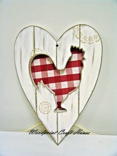 Primitive Wooden Rooster Cutout Heart.