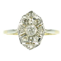 1920s Diamond Art Deco Ring Old Cut Rose Diamonds Yellow Gold 18K by adinantiquejewellery on Etsy https://www.etsy.com/listing/203784825/1920s-diamond-art-deco-ring-old-cut-rose