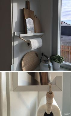 Charcoal chain II- Holzkugelkette II Kitchen roll holder from charcoal chain Kitchen Storage Hacks, Diy Kitchen, Kitchen Ideas, Stairs Kitchen, Ikea Hack Kitchen, Design Kitchen, Kitchen Towels, Küchen Design, House Design