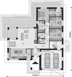 Projekt domu Padme 3 WZ 145,31 m2 - koszt budowy - EXTRADOM Mykonos, Architecture Details, Planer, House Plans, Sweet Home, Villa, Floor Plans, How To Plan, Decoration