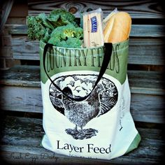 Green Country Feeds Chicken Handmade Repurposed Eco-friendly Market Feed Tote Shopping Bag. $14.00, via Fresh Eggs Daily Etsy.