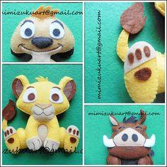 El rey león: Simba, Timón y Pumba, felt doll, muñecos de fieltro