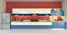 Red and Blue Shade #Kitchen Decor Ideas for Your Home.