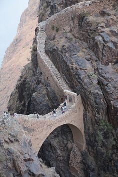 Shaharah footbridge in north-eastern Yemen