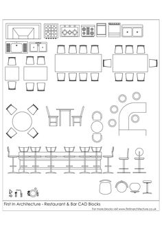Free CAD Blocks – Restaurant and bar - Here is another set of free cad blocks from the First In Architecture Cad Block database. We hope y - Drawing Interior, Interior Design Sketches, Free Interior Design, Architecture Symbols, Architecture Design, Interior Architecture Drawing, Classical Architecture, Ancient Architecture, Sustainable Architecture