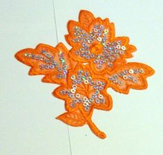 Orange Flower patch applique with sequin by shoptillyoudropnow, $5.00