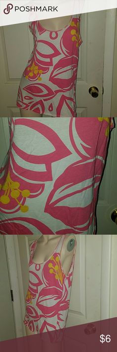 Old Navy Pink print top Pink print top. 60% cotton, 40% modal Old Navy Tops