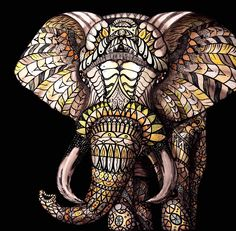 """Mosaic Elephant"" by Christina Lynn Todaro www.Layered-Beauty.com"
