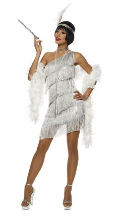 Roaring Twenties Dresses | 1920S ROARING 20S ADULT WOMENS SILVER DAZZLING FLAPPER COSTUME DRESS