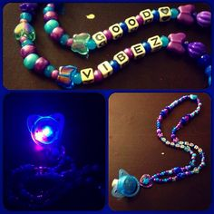 Custom kandi necklace with an LED pacifier. Can also be made with a rhinestone pacifier