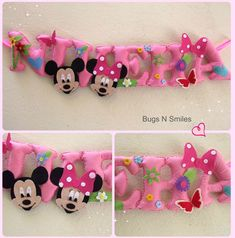 Mickey mouse , Minnie mouse inspired pastel pink  personalized felt name banner ♥   Decoration for girls rooms  Mickey themed party decoration  via www.facebook.com/bugsnsmiles