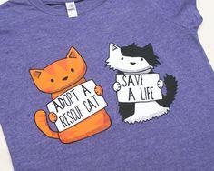 Medium Ladies Rescue Cat  Purple  Tshirt by Doodlecats on Etsy, £16.00