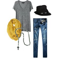 Outfit by TL - never been a fan of rosary as a necklace (reminds me of me at age 5 ;)), but like the urban rugged look