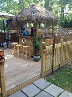 The 5 O'Clock Somewhere - White Sands Tiki Bars Deck Bar, Patio Bar, Outdoor Tiki Bar, Outdoor Decor, Outdoor Bars, Tikki Bar, Luau, Tiki Bar Decor, Pergola