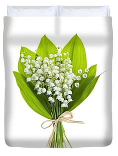 Flower Duvet Cover featuring the photograph Lily-of-the-valley Bouquet by Elena…