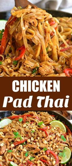 Pad Thai is a delicious rice noodle dish you can make at home is about 30 minutes. It's made with chicken or shrimp rice noodles vegetables eggs peanut cilantro and irresistible Pad Thai sauce. Pollo Pad Thai, Pasta Dishes, Food Dishes, Food Food, Main Dishes, Sumo Detox, Pasta Facil, Asian Recipes, Salads