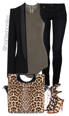 """""""Roar"""" by highfashionfiles ❤ liked on Polyvore featuring even&odd, Rick Owens, Haider Ackermann, Christian Louboutin, women's clothing, women, female, woman, misses and juniors"""