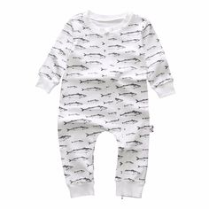 Baby Boy's Cotton Long-Sleeve Fish Playsuit in White, 23% discount @ PatPat Mom Baby Shopping App