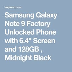 Samsung Galaxy Note 9 Factory Unlocked Phone with Screen and , Midnight Black by KnobieDuck. Hosted by KingSumo Giveaways Galaxy Phone, Samsung Galaxy, Free Gas, Unlocked Phones, Galaxy Note 9, Notes, Black, Giveaways, Random