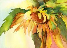 Watercolour by Sara: Title: Sleepy Sunflower