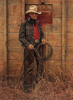 Slim Warren The Old cowboy by James Bama. I remember seeing Slim and Dean most days leaning on the rail by Cody Drug Store. My mom used to give him rides around town. I don't remember him ever owning a vehicle.