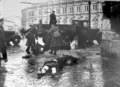Some of the dead being collected from the streets of Leningrad following German shelling of the city, WWII.