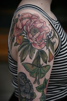 """kirsten holliday works at wonderland tattoo in portland, oregon. """"Fully healed! Pink peonies, luna moth, California poppies and lavender for Allegra. Thank you so much for letting me get healed photos! """""""