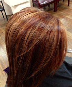 auburn hair with highlights | Auburn with Carmel highlights! Fall by ada