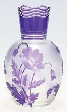 Val St Lambert cameo [glass] vase with poppies arranged in triplet about the circumference, signed circa 1905-1945, France