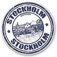 2 x Stockholm Sweden Vinyl Sticker Decal Luggage Travel Tag Gift Map Flag Logo Sticker, Sticker Design, Travel Stamp, Tumblr Stickers, Vintage Medical, Vintage Travel Posters, Laptop Stickers, Glossier Stickers, Stockholm Sweden