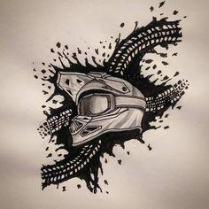 Motocross Tattoo, Dirt Bike Tattoo, Motocross Love, Bicycle Tattoo, Biker Tattoos, Motorcycle Tattoos, Motorcycle Art, Bike Art, Ink Drawings