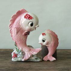 vintage pink fish salt and pepper shakers.